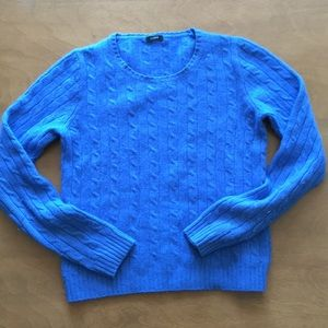 Beautiful cobalt blue J. Crew cable knit sweater